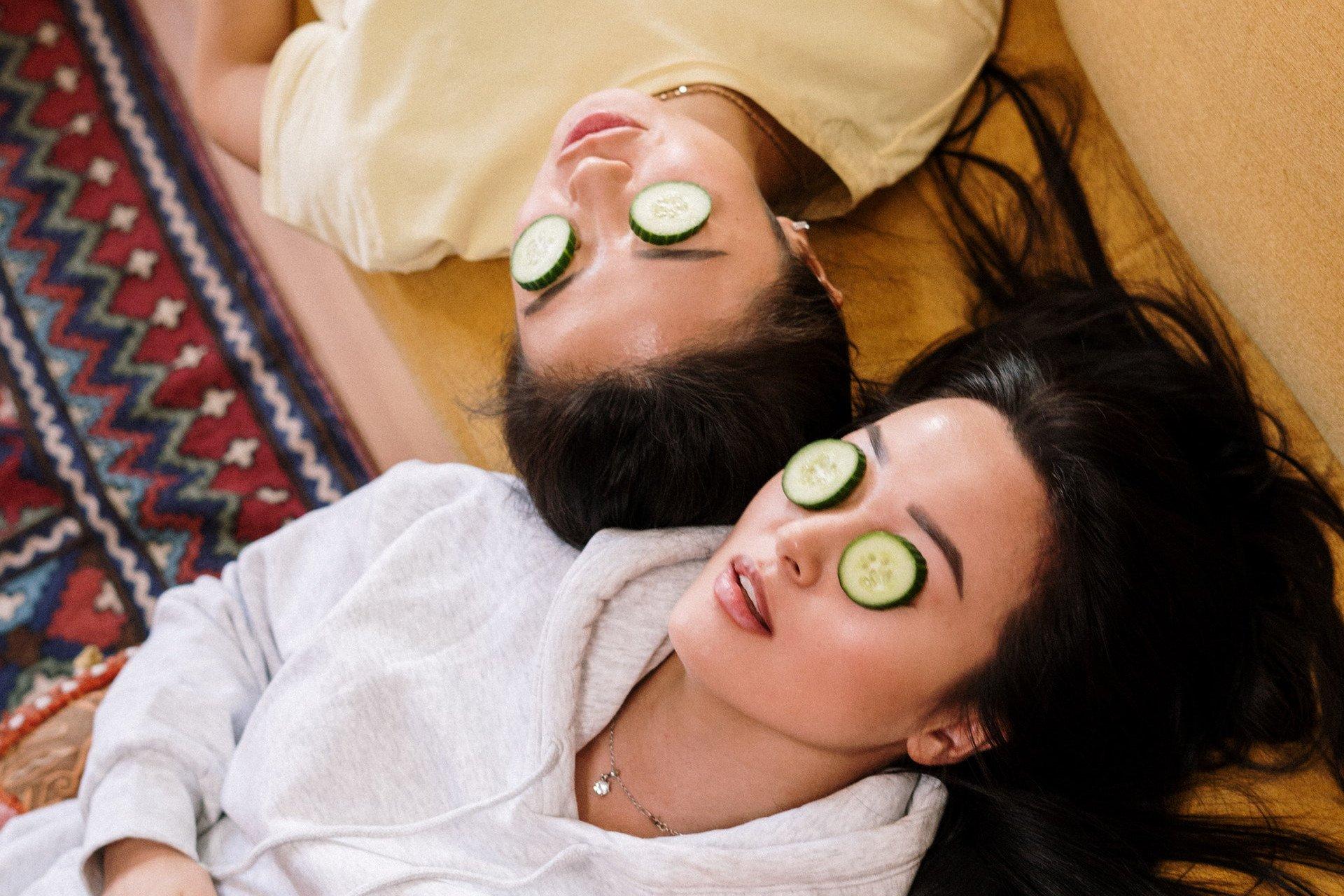 Women taking care of skin